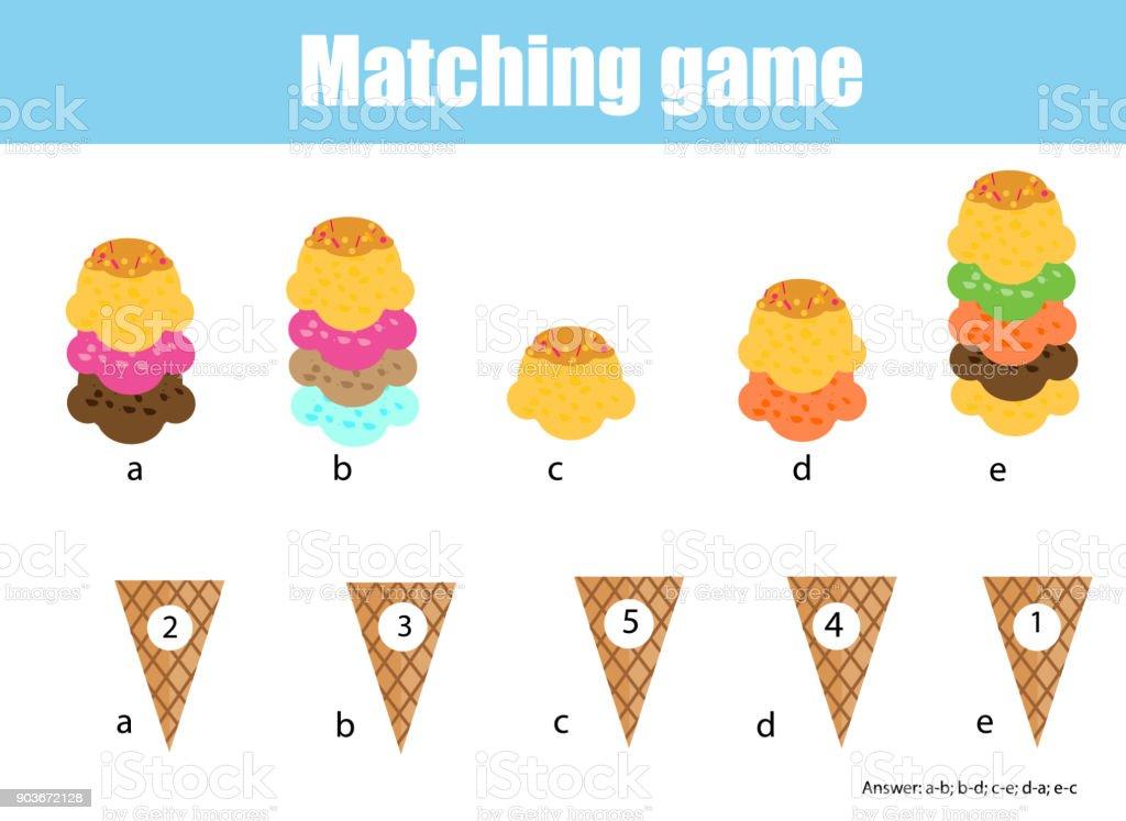 Math Educational Game For Children Matching Mathematics Activity ...