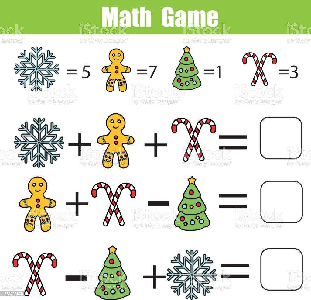 Mathe Lernspiel Für Kinder Mathematische Gleichungen Zu Zählen Stock ...