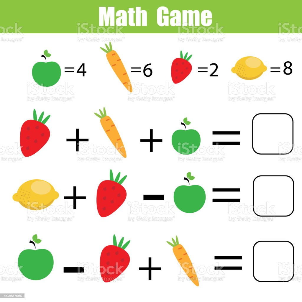 Math educational game for children. Mathematical counting equations vector art illustration