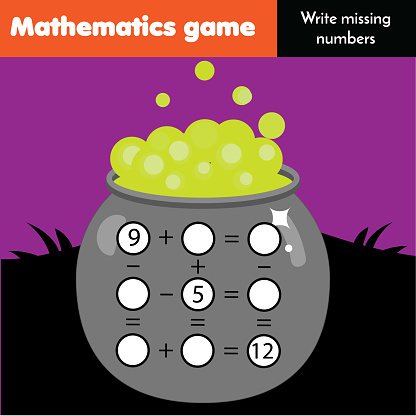 Math educational game for children. Write missing numbers and complete equations. Study subtraction and addition. Halloween theme mathematics worksheet for kids