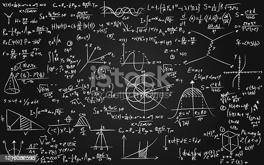 istock Math equations written on a blackboard 1219382595