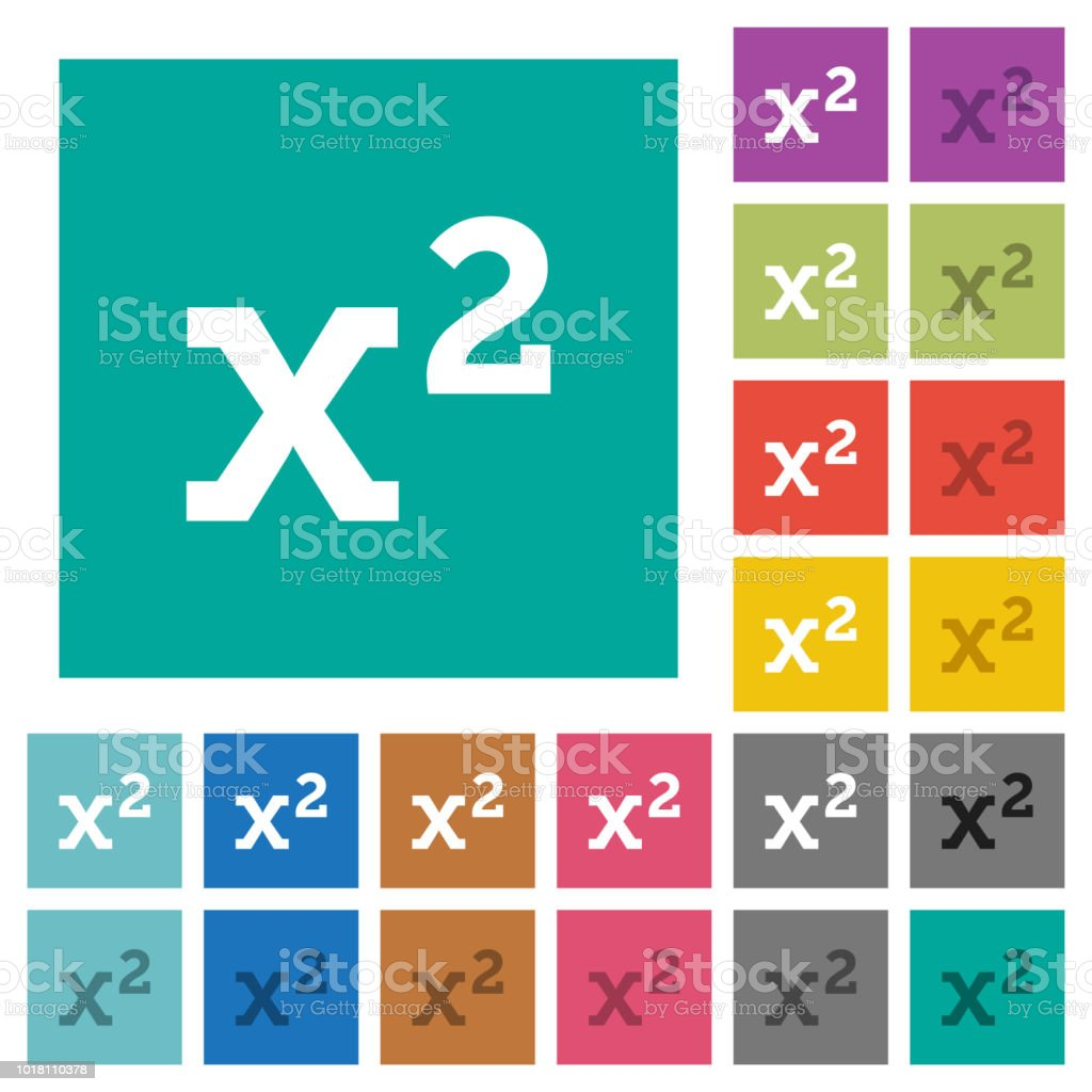 Math Exponentiation Square Flat Multi Colored Icons Stock Vector Art ...