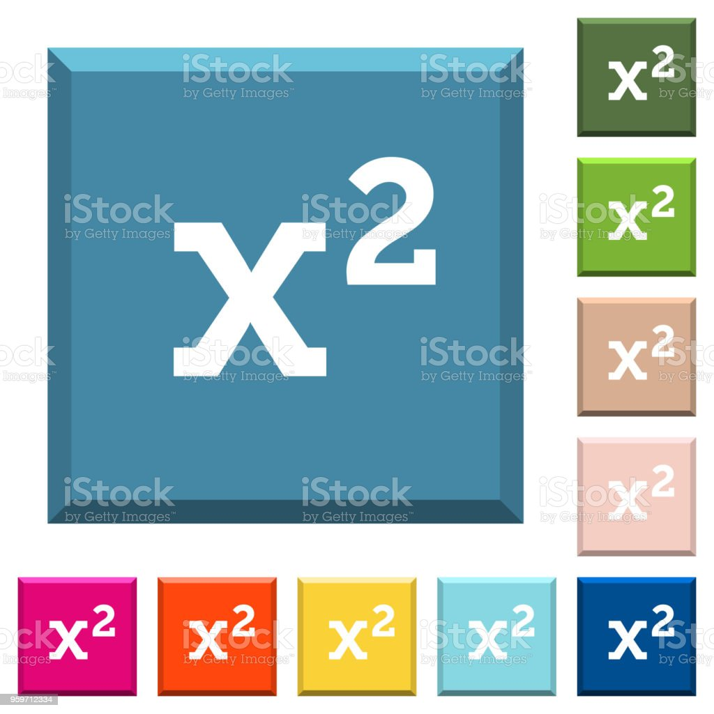 Math Exponentiation White Icons On Edged Square Buttons Stock Vector ...