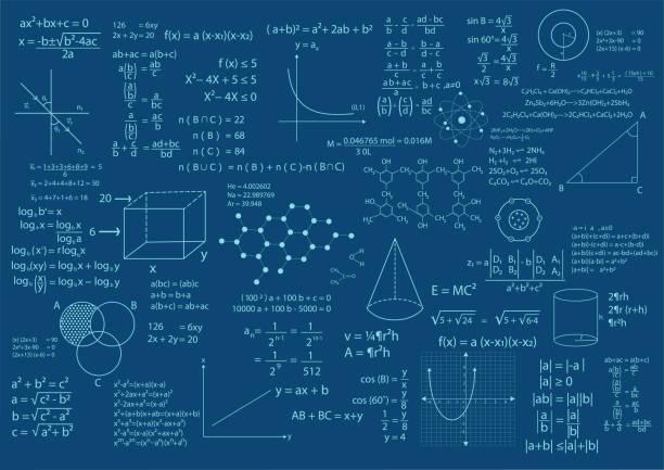 math formula background math formula and calculations background vector illustration mathematical symbol stock illustrations