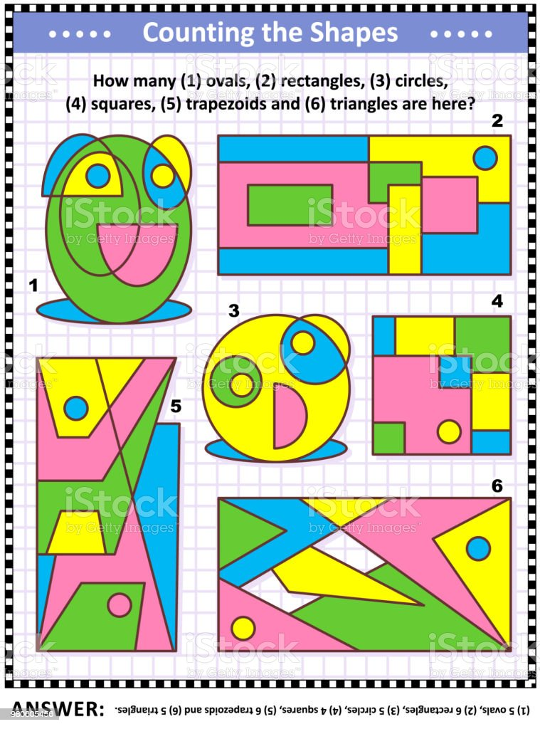Math Game With Basic Shapes Count Ovals Rectangles Circles Squares ...