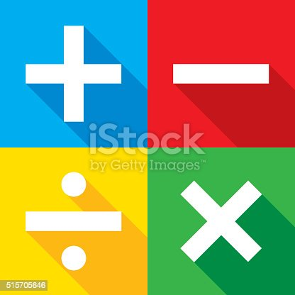 Vector illustration of four blue, red, yellow, and green, math icons in flat style.