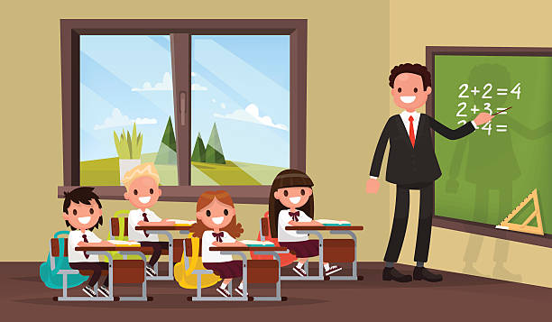 math lesson. a teacher with pupils in primary school classroom. - class stock illustrations