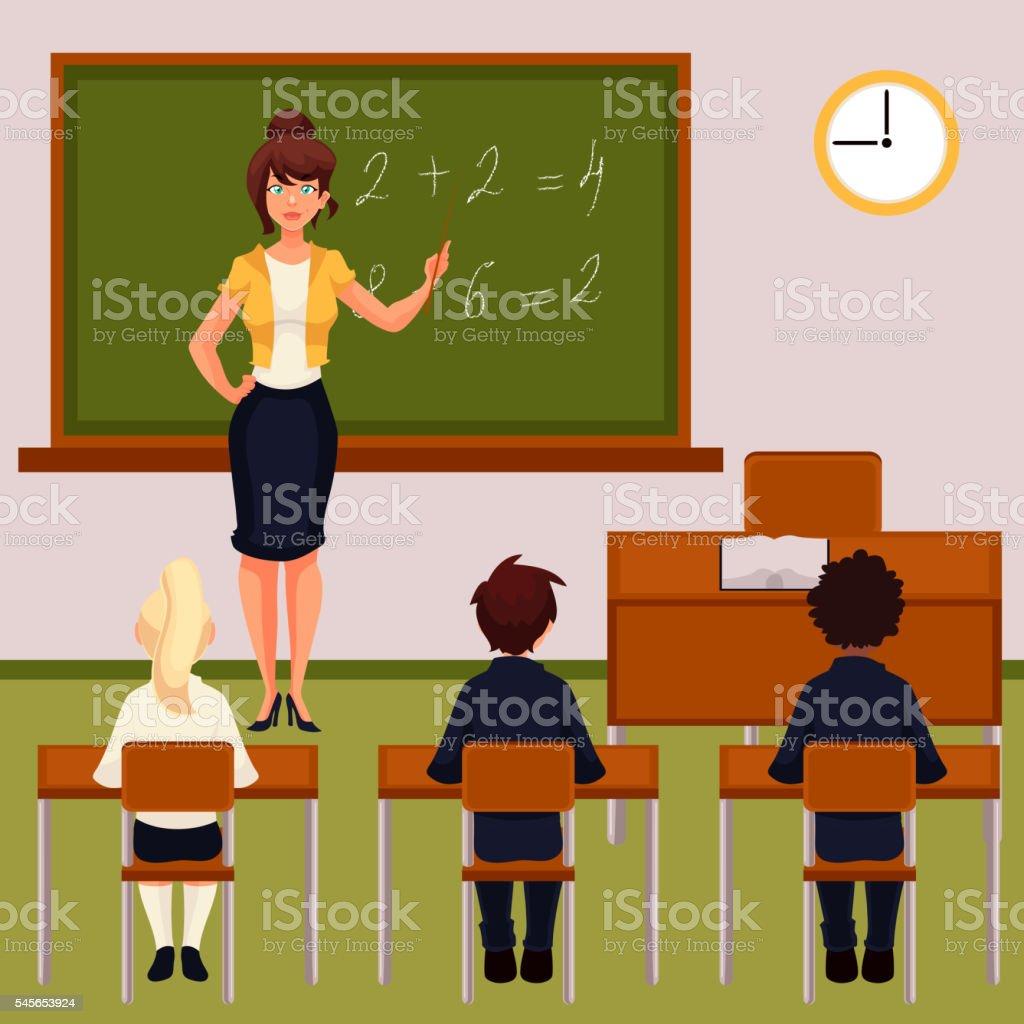 Math lesson with teacher and pupils in classroom - ilustração de arte em vetor