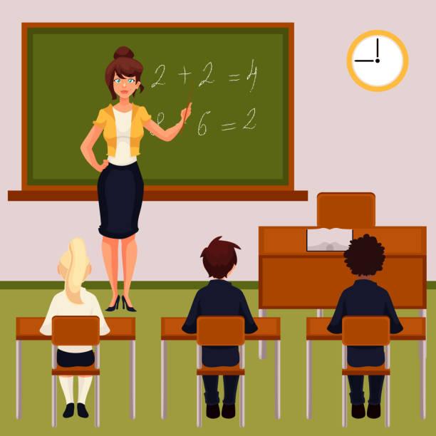 ilustrações, clipart, desenhos animados e ícones de math lesson with teacher and pupils in classroom - aula de matemática