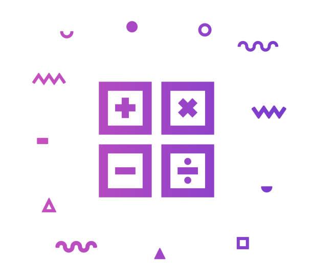 illustrazioni stock, clip art, cartoni animati e icone di tendenza di progettazione dell'icona stile linea matematica - segno meno