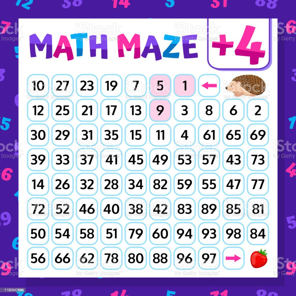 Math Maze Addition Worksheet Educational Game Mathematical ...