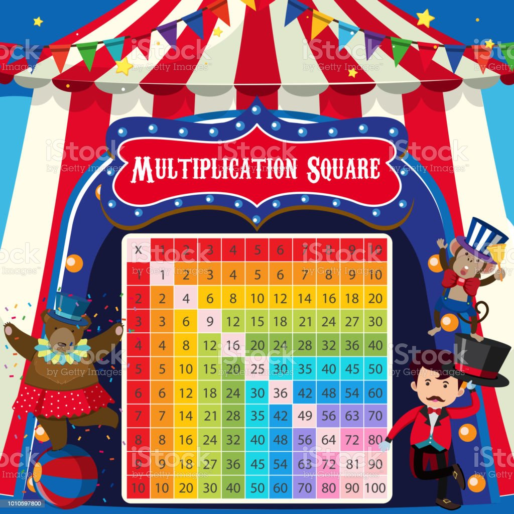 a20171b4b5 Tema de circo de Praça de multiplicação matemática vetor de tema de circo  de praça de