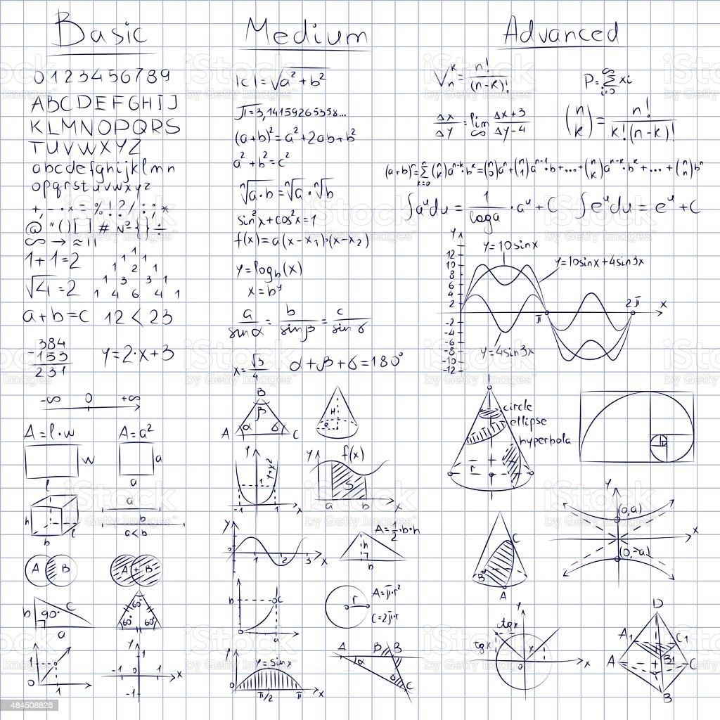 Math notes. vector art illustration
