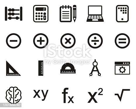istock Math Or Math Science Icons Black & White Set Big 1201886262