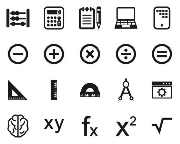 bildbanksillustrationer, clip art samt tecknat material och ikoner med math eller matematik science ikoner svart & vit set big - abakus