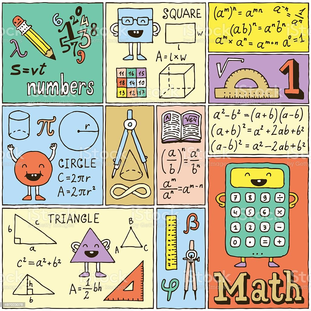 Math Science Banners Color set. Hand Drawn Vector Illustrations. vector art illustration