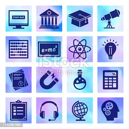 Math, science and reading skills holographic style silhouette symbols on gradient background. Vector icons set for infographics, mobile or web page designs.