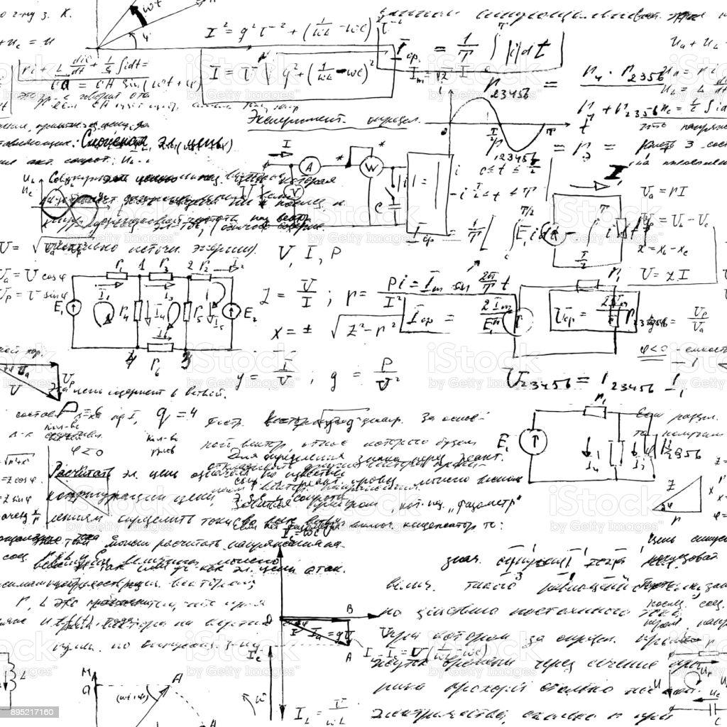 Math Seamless Pattern With Handwriting Of Various Operations And ...