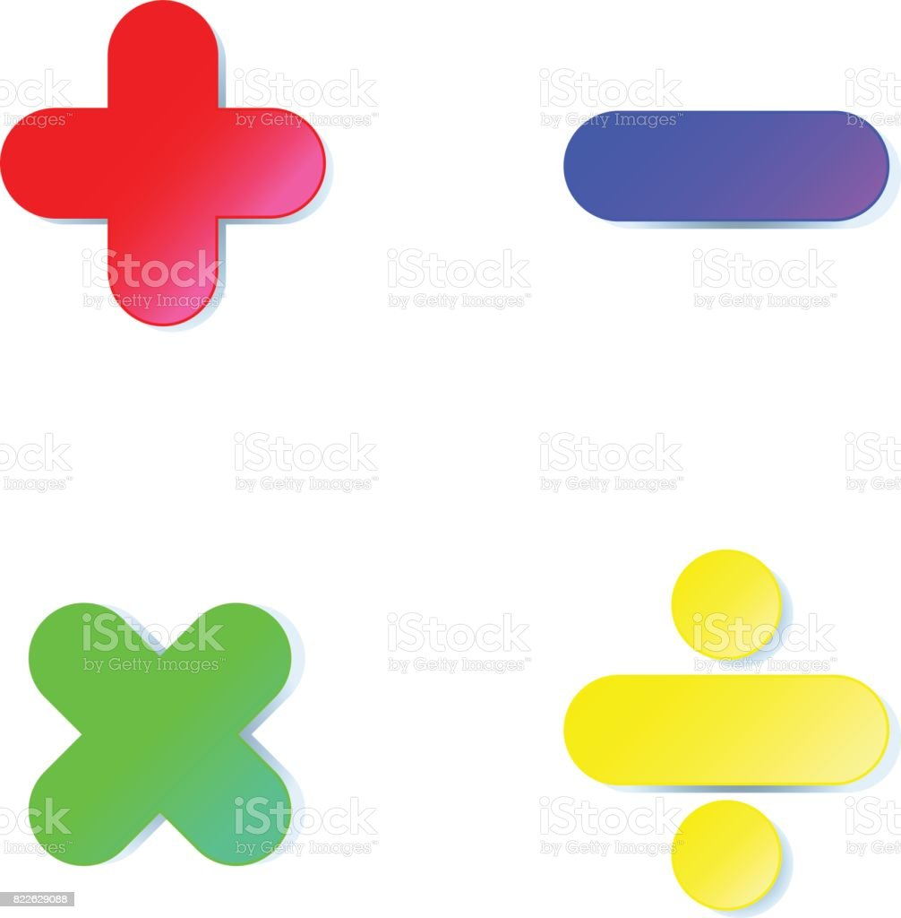 Math symbol : plus,minus,multiply,divide in colorful paper cut on white background vector art illustration