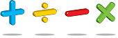 Vector illustration of a three dimensional math symbols.