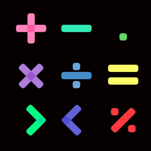 illustrazioni stock, clip art, cartoni animati e icone di tendenza di simbolo matematico con colore pastello su sfondo nero - segno meno