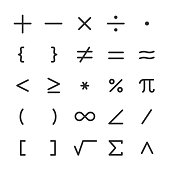 math symbols, icon set. mathematical calculations. editable stroke