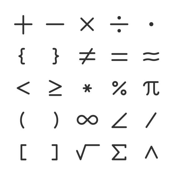 math symbols, icon set. mathematical calculations. Line with editable stroke math symbols, icon set. mathematical calculations. editable stroke mathematical symbol stock illustrations