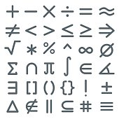 Math symbols, mathematic icon set