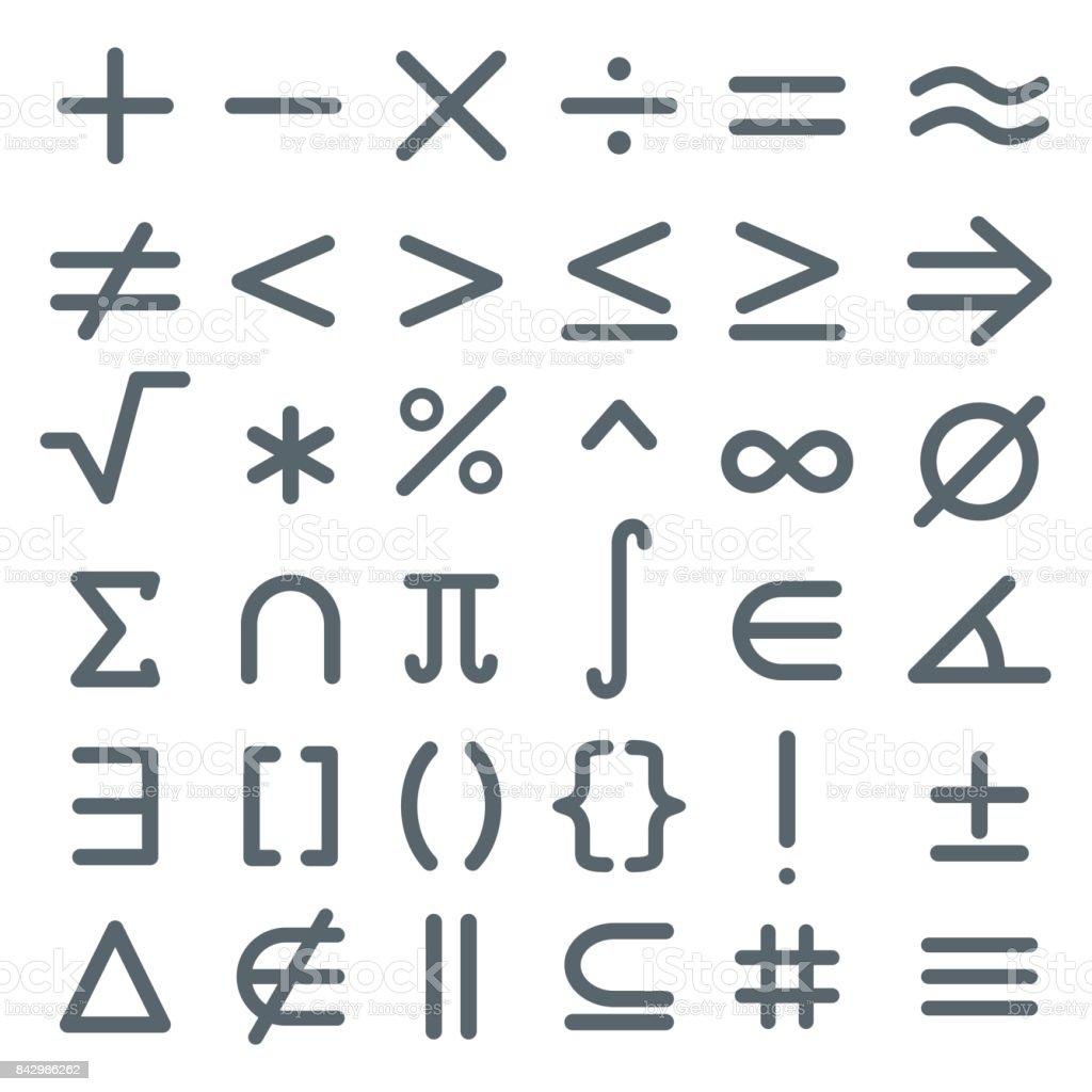 Math symbols, mathematic icon set vector art illustration
