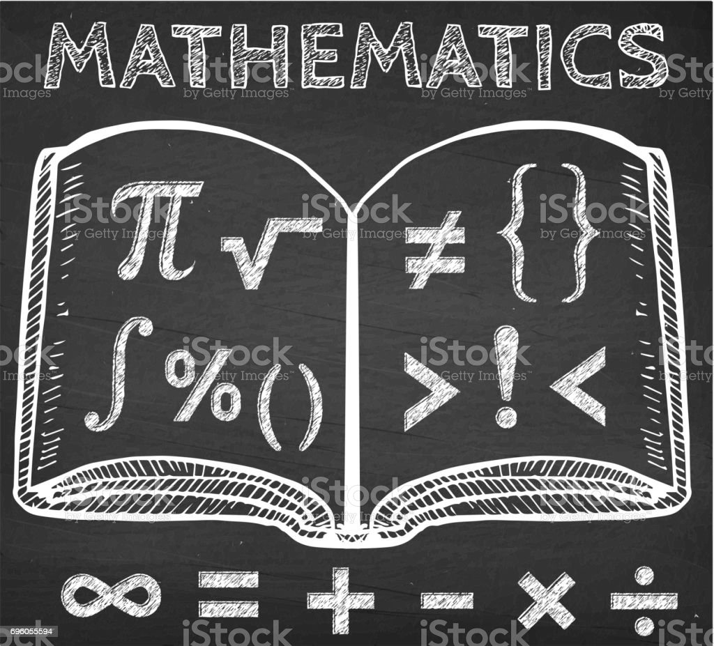 Math Symbols with Book on Chalk Board vector art illustration