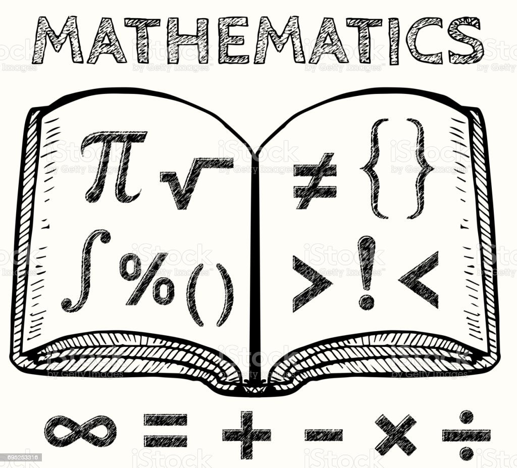 Math Symbols With Book Vector Illustration Stock Vector Art More