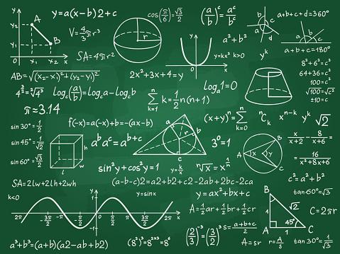 Math theory. Mathematics calculus on class chalkboard. Algebra and geometry science handwritten formulas vector education concept