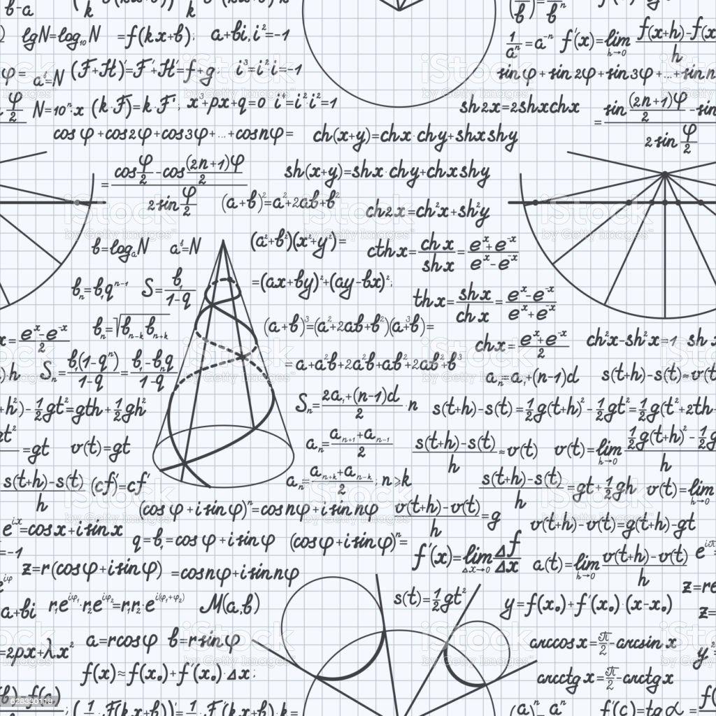 Math vector seamless pattern background notebook vector art illustration