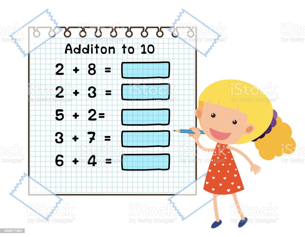 Math Worksheet For Addition To Ten Stock Vector Art & More Images of ...