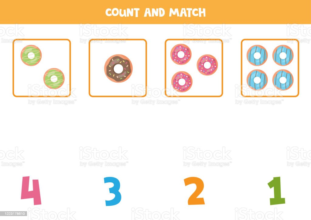 Math Worksheet For Kids Counting Game With Cute Cartoon Donuts Stock  Illustration - Download Image Now - IStock