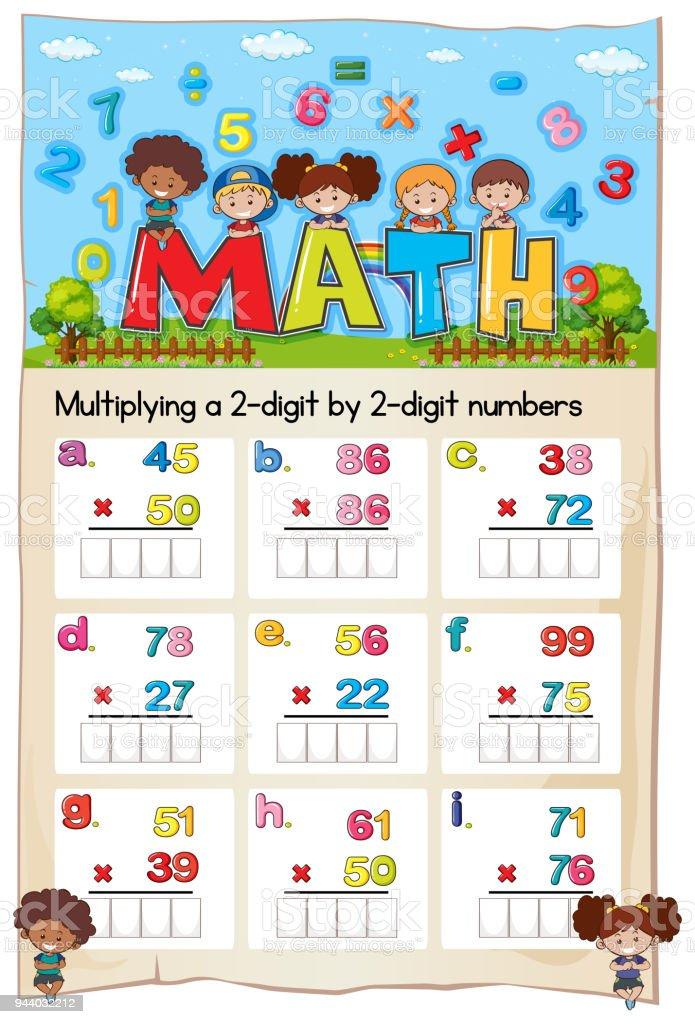Mathe Arbeitsblatt Multiplizieren Zwei Ziffern Durch Zwei Ziffern ...