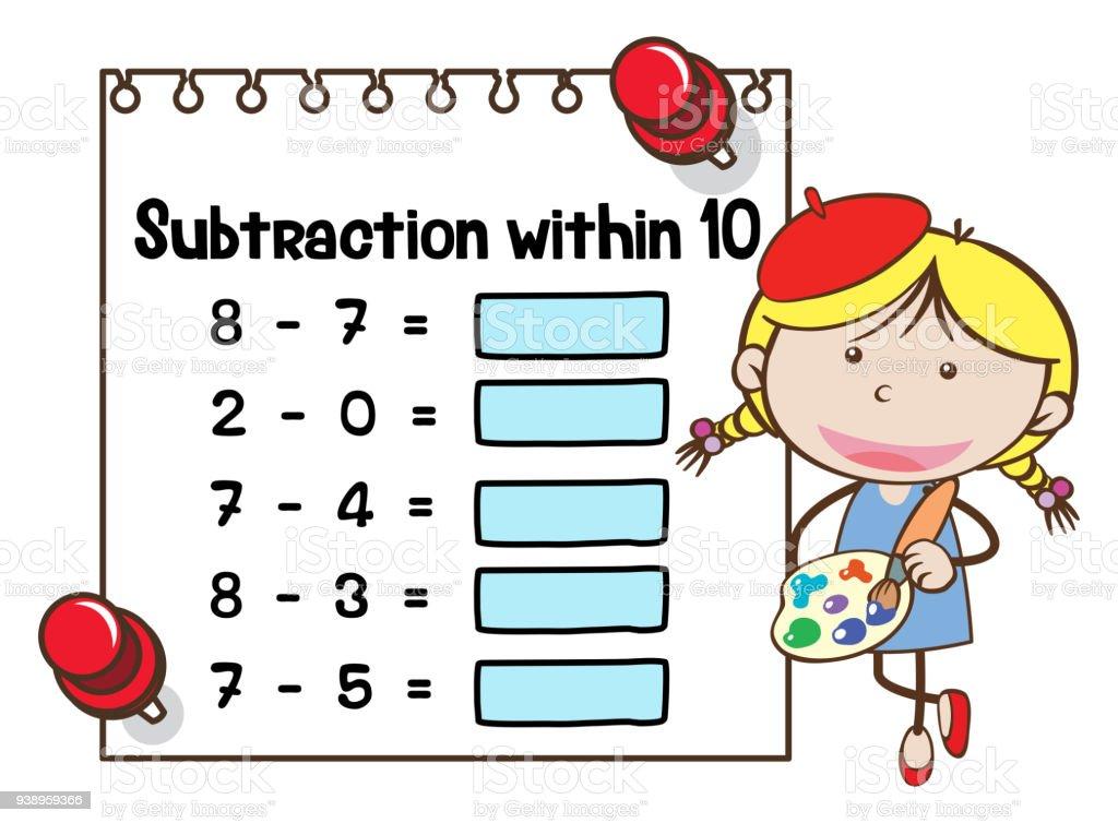 Math Arbeitsblattvorlage Für Die Subtraktion Innerhalb Von Zehn ...
