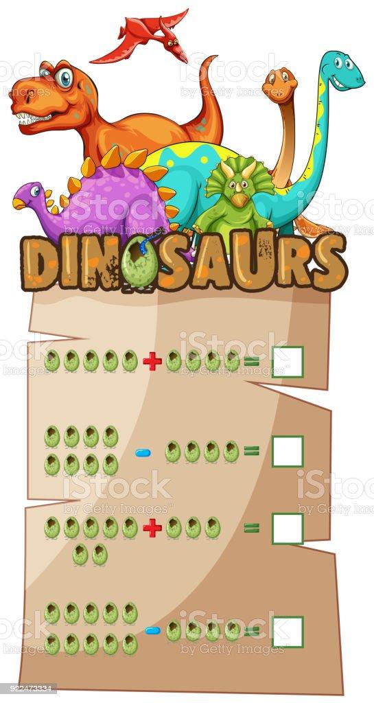 Hoja De Trabajo De Matemáticas Con Los Dinosaurios - Arte vectorial ...