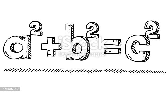 Hand-drawn vector drawing of the Mathematic Formula of Pythagoras. Black-and-White sketch on a transparent background (.eps-file). Included files are EPS (v10) and Hi-Res JPG.