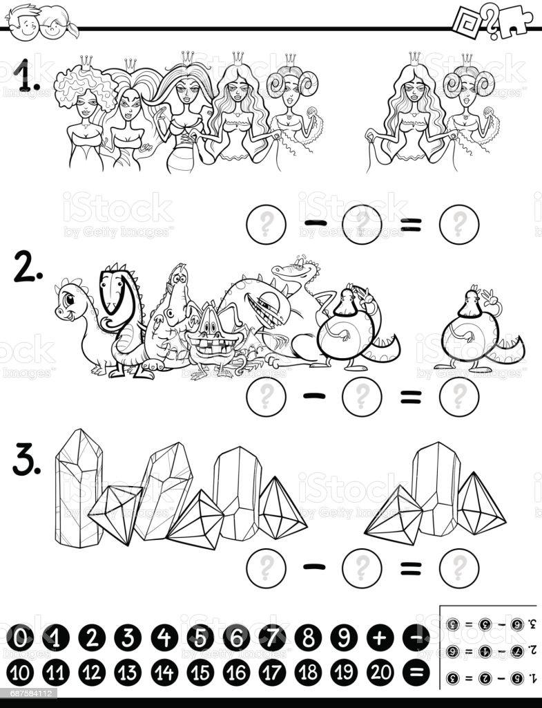 Matematik Etkinlik Boyama Kitabi Stok Vektor Sanati Anaokulu Nin
