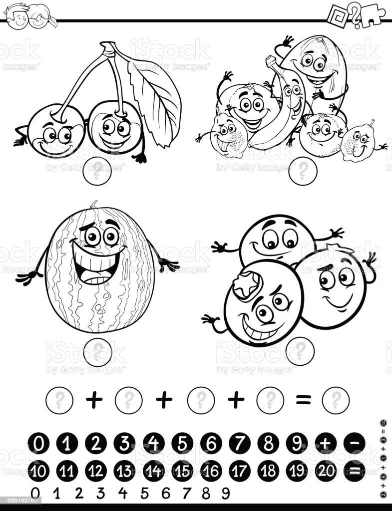 Matematik Etkinlik Boyama Sayfasi Stok Vektor Sanati Anaokulu