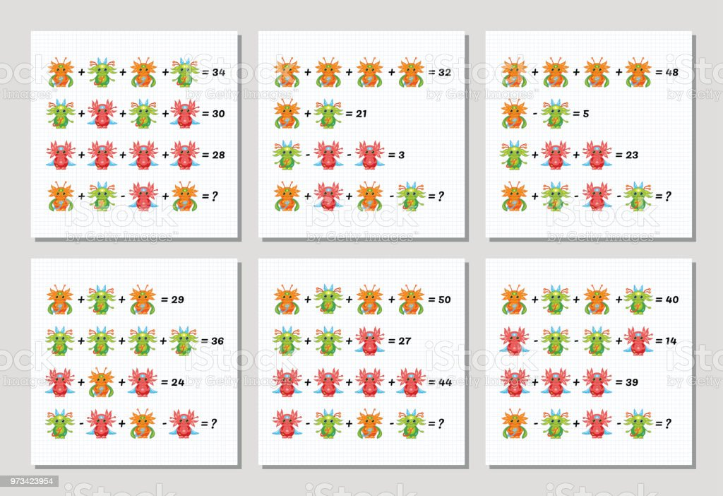 Mathematical Addition Subtraction Puzzle Set System Of Equations