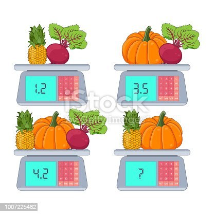 Mathematical Addition Subtraction Puzzle. System of equations. Math game with decimal fractions, education game for kids, school worksheet activity, critical thinking. Scales game with pictures.