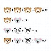 Mathematiklernspiel Für Kinder Festgelegt System Von Gleichungen ...