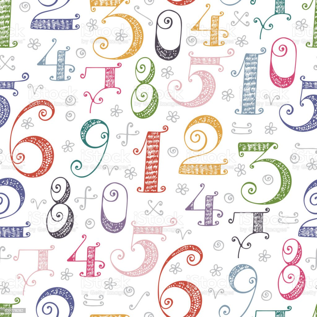 Mathematical background for kids hand drawn doodle numbers - Number wallpaper ...