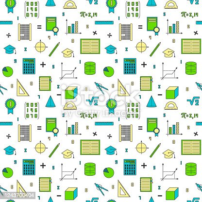 Mathematical background. Seamless background of math elements. Symbols of learning, geometry, education. Colored on a white background.