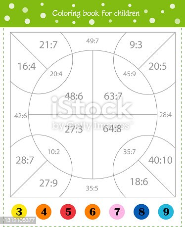 istock Mathematical coloring book for children. Addition examples. Worksheet 1312105377