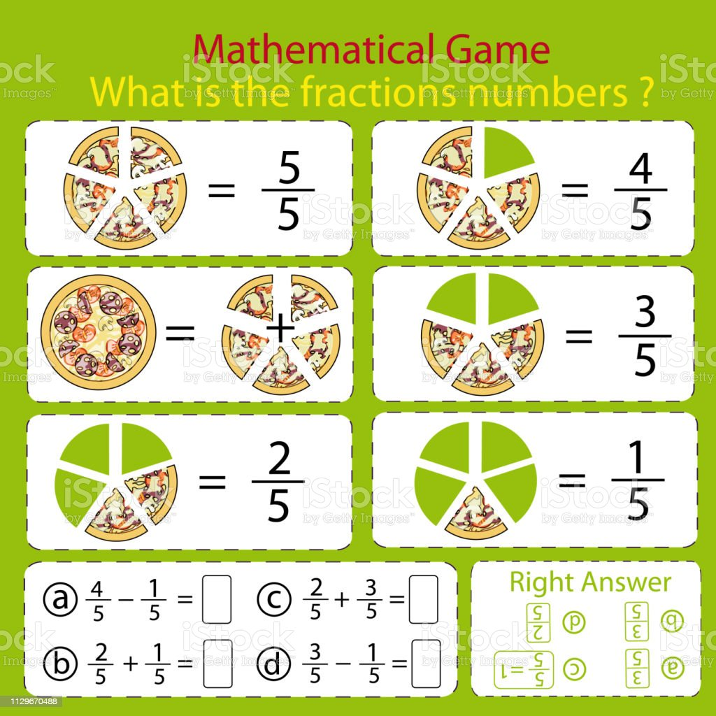 Mathematical Educational Tasks For Kids Study The Fractions Numbers