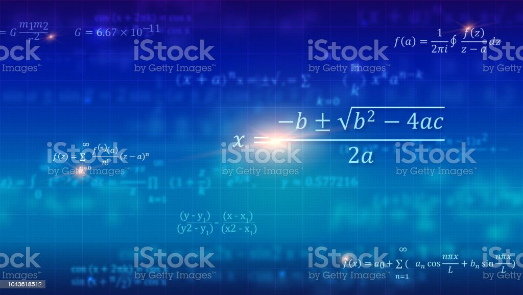 Mathematical formulas. Abstract blue background with Math equations floating on school blackboard. Vector 3D illustration. Symbol of study algebra, arithmetic, physics and exact Sciences. vector art illustration