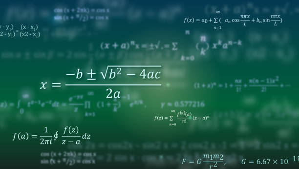 mathematical formulas. abstract green background with math equations floating on blackboard. pattern for cover, presentation, leaflets. vector 3d illustration - algorithm stock illustrations